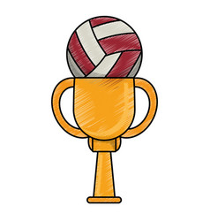 drawing volleyball winner cup prize vector image