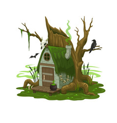 fairy swamp house or dwelling wizard or evil vector image