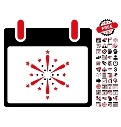 Fireworks Boom Calendar Day Flat Icon With vector image
