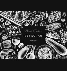 French food and drinks frame on chalkboard vector