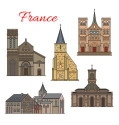 french travel landmark icon of havre architecture vector image
