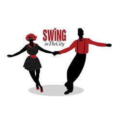 funny couple dancing swing rock or lindy hop vector image