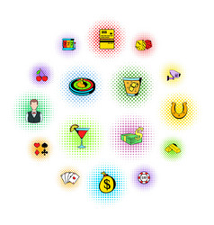 gambling icons set comics style vector image