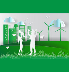 green environment happy family having fun playing vector image