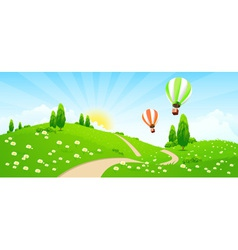 Green Landscape with Road Flowers Trees vector image