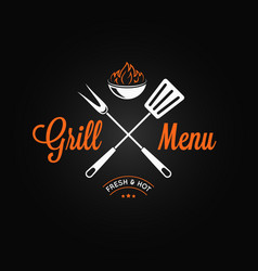 grill logo vintage emblem grill fire and tools on vector image