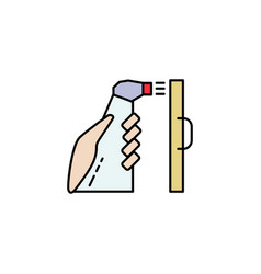 Hand with antiseptic in a bottle and desinfictant vector