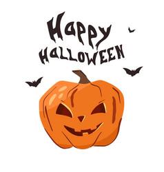happy halloween banner with pumpkins vector image