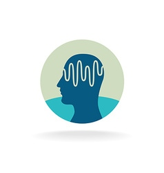 Head scan logo Brain activity waveform vector