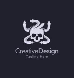 Head skull medusa logo vector