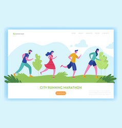 healthy lifestyle landing page template running vector image