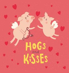 hogs and kisses vector image