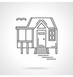 House by the lake flat line icon vector