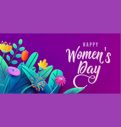 international womens day banner with fantasy paper vector image