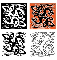 Intricate celtic mystical dragon animals vector image