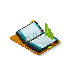 Isometric business infographic with smartphone vector