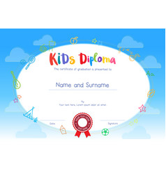 Kids diploma or certificate template with cartoon vector