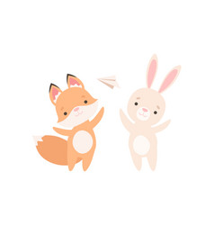 Lovely white little bunny and fox cub playing vector