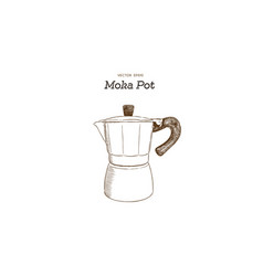 moka pot coffee maker hand draw vector image