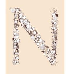 N school alphabet letter vector