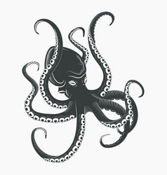 Ocean octopus or sea octopoda with tentacles vector