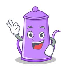 Okay purple teapot character cartoon vector