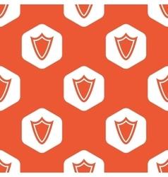 Orange hexagon shield pattern vector
