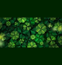 patricks day banner design clover leaves vector image