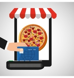 payment credit card delivery food pizza vector image