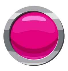 Pink button icon cartoon style vector