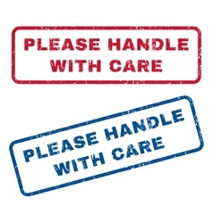 Please Handle With Care Rubber Stamps vector