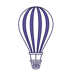 purple line contour of hot air balloon vector image