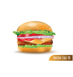 realistic 3d cuisine burger on isolated vector image