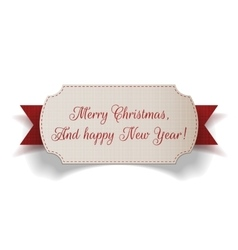 Realistic Christmas paper Label and red Ribbon vector image