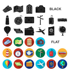Rest and travel flat icons in set collection vector