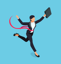running businesswoman isolated on blue background vector image