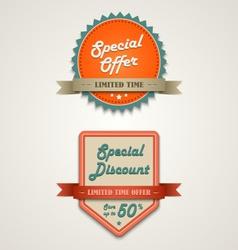 Sale labels vintage retro design style vector image