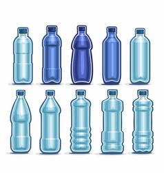 set blue plastic bottles vector image