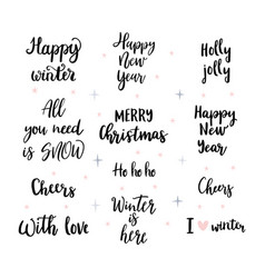set handwritten merry christmas and happy new vector image