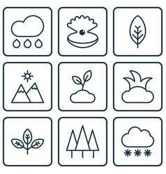 Set of 9 world icons includes rain sprout vector