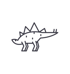 stegosaurus line icon sign vector image