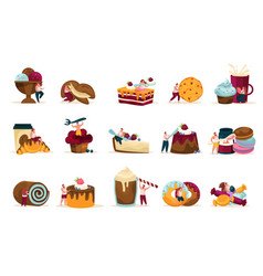 sweets and people recolor icons set vector image