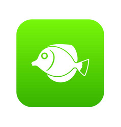 tang fish zebrasoma flavescens icon digital green vector image