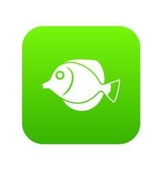 Tang fish zebrasoma flavescens icon digital green vector