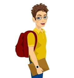 Teenage student with glasses and backpack vector