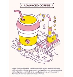 Template with of cup coffee takeaway hourgl vector