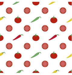 tomatoes and peppers background vector image