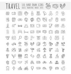 travel hand draw icons icon lined cartoon vector image