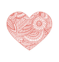 valentine heart floral ornament hand vector image