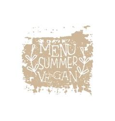 Vegan Summer Menu Calligraphic Cafe Board vector image